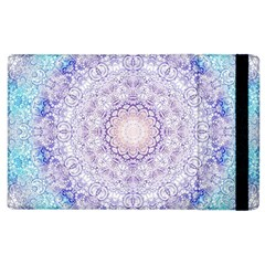 India Mehndi Style Mandala   Cyan Lilac Apple Ipad 2 Flip Case by EDDArt