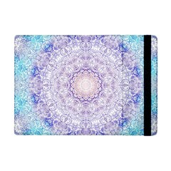India Mehndi Style Mandala   Cyan Lilac Apple Ipad Mini Flip Case by EDDArt