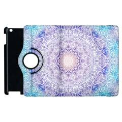 India Mehndi Style Mandala   Cyan Lilac Apple Ipad 3/4 Flip 360 Case by EDDArt