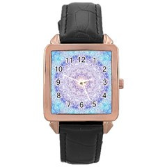 India Mehndi Style Mandala   Cyan Lilac Rose Gold Leather Watch  by EDDArt