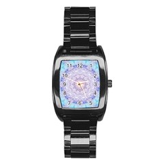 India Mehndi Style Mandala   Cyan Lilac Stainless Steel Barrel Watch by EDDArt