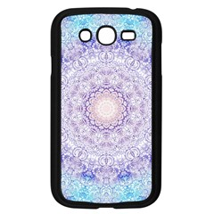 India Mehndi Style Mandala   Cyan Lilac Samsung Galaxy Grand Duos I9082 Case (black) by EDDArt