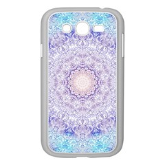 India Mehndi Style Mandala   Cyan Lilac Samsung Galaxy Grand Duos I9082 Case (white) by EDDArt