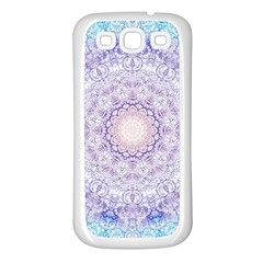 India Mehndi Style Mandala   Cyan Lilac Samsung Galaxy S3 Back Case (white) by EDDArt