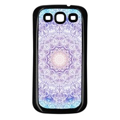 India Mehndi Style Mandala   Cyan Lilac Samsung Galaxy S3 Back Case (black) by EDDArt
