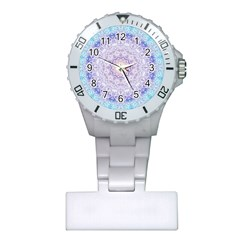 India Mehndi Style Mandala   Cyan Lilac Plastic Nurses Watch by EDDArt