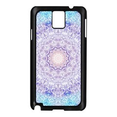India Mehndi Style Mandala   Cyan Lilac Samsung Galaxy Note 3 N9005 Case (black) by EDDArt