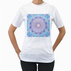 India Mehndi Style Mandala   Cyan Lilac Women s T-shirt (white)  by EDDArt