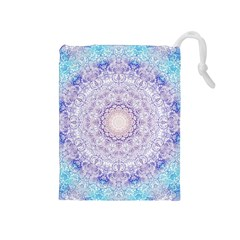 India Mehndi Style Mandala   Cyan Lilac Drawstring Pouches (medium)  by EDDArt