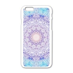 India Mehndi Style Mandala   Cyan Lilac Apple Iphone 6/6s White Enamel Case by EDDArt
