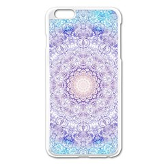 India Mehndi Style Mandala   Cyan Lilac Apple Iphone 6 Plus/6s Plus Enamel White Case by EDDArt