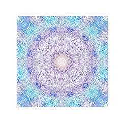 India Mehndi Style Mandala   Cyan Lilac Small Satin Scarf (square) by EDDArt