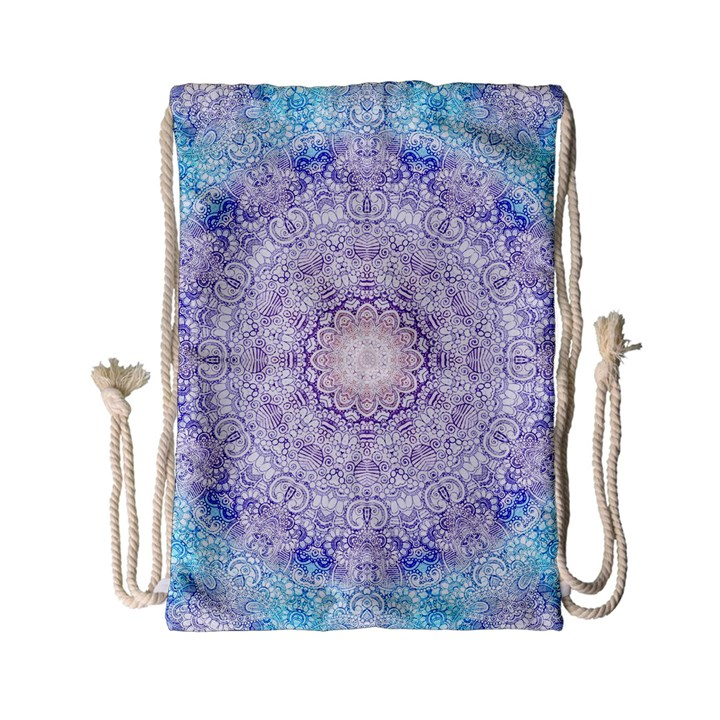 India Mehndi Style Mandala   Cyan Lilac Drawstring Bag (Small)