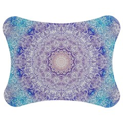 India Mehndi Style Mandala   Cyan Lilac Jigsaw Puzzle Photo Stand (bow) by EDDArt