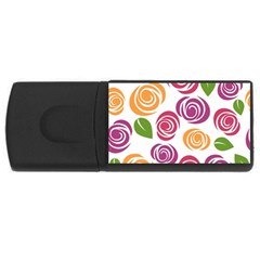 Colorful Seamless Floral Flowers Pattern Wallpaper Background Usb Flash Drive Rectangular (4 Gb) by Amaryn4rt