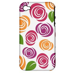 Colorful Seamless Floral Flowers Pattern Wallpaper Background Apple Iphone 4/4s Hardshell Case (pc+silicone) by Amaryn4rt