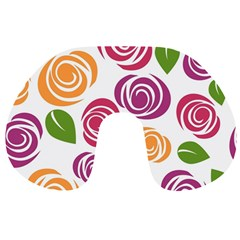 Colorful Seamless Floral Flowers Pattern Wallpaper Background Travel Neck Pillows by Amaryn4rt