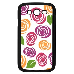 Colorful Seamless Floral Flowers Pattern Wallpaper Background Samsung Galaxy Grand Duos I9082 Case (black)