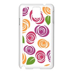 Colorful Seamless Floral Flowers Pattern Wallpaper Background Samsung Galaxy Note 3 N9005 Case (white) by Amaryn4rt