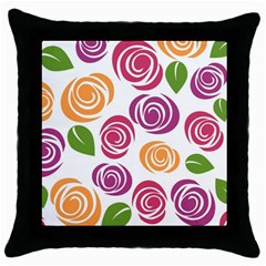 Colorful Seamless Floral Flowers Pattern Wallpaper Background Throw Pillow Case (black) by Amaryn4rt