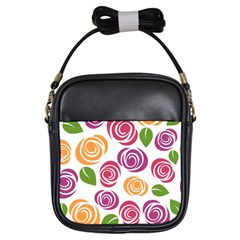Colorful Seamless Floral Flowers Pattern Wallpaper Background Girls Sling Bags by Amaryn4rt