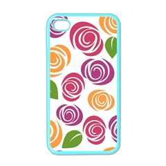 Colorful Seamless Floral Flowers Pattern Wallpaper Background Apple Iphone 4 Case (color) by Amaryn4rt