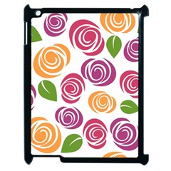 Colorful Seamless Floral Flowers Pattern Wallpaper Background Apple Ipad 2 Case (black) by Amaryn4rt