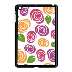Colorful Seamless Floral Flowers Pattern Wallpaper Background Apple Ipad Mini Case (black) by Amaryn4rt