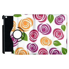 Colorful Seamless Floral Flowers Pattern Wallpaper Background Apple Ipad 3/4 Flip 360 Case by Amaryn4rt