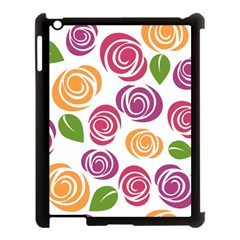 Colorful Seamless Floral Flowers Pattern Wallpaper Background Apple Ipad 3/4 Case (black) by Amaryn4rt