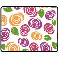 Colorful Seamless Floral Flowers Pattern Wallpaper Background Double Sided Fleece Blanket (medium)  by Amaryn4rt