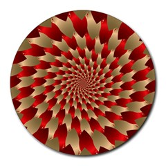 Fractal Red Petal Spiral Round Mousepads by Amaryn4rt