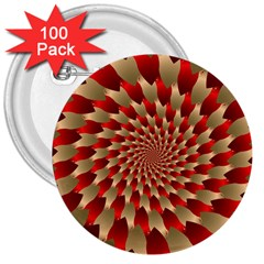 Fractal Red Petal Spiral 3  Buttons (100 Pack)  by Amaryn4rt