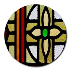 A Detail Of A Stained Glass Window Round Mousepads by Amaryn4rt