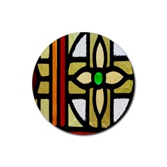 A Detail Of A Stained Glass Window Rubber Round Coaster (4 Pack)  by Amaryn4rt