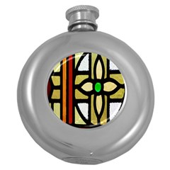 A Detail Of A Stained Glass Window Round Hip Flask (5 Oz) by Amaryn4rt