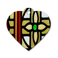 A Detail Of A Stained Glass Window Dog Tag Heart (two Sides) by Amaryn4rt