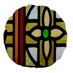 A Detail Of A Stained Glass Window Large 18  Premium Round Cushions by Amaryn4rt