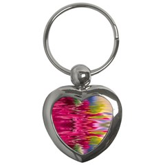 Abstract Pink Colorful Water Background Key Chains (heart)  by Amaryn4rt