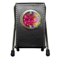 Abstract Pink Colorful Water Background Pen Holder Desk Clocks by Amaryn4rt