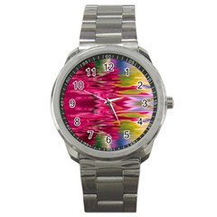 Abstract Pink Colorful Water Background Sport Metal Watch by Amaryn4rt
