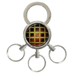 Drawing Of A Color Fractal Window 3 Ring Key Chains
