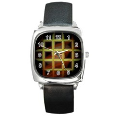 Drawing Of A Color Fractal Window Square Metal Watch by Amaryn4rt