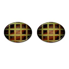 Drawing Of A Color Fractal Window Cufflinks (oval) by Amaryn4rt