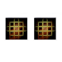 Drawing Of A Color Fractal Window Cufflinks (square) by Amaryn4rt