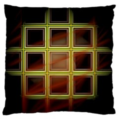 Drawing Of A Color Fractal Window Large Flano Cushion Case (one Side) by Amaryn4rt