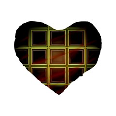 Drawing Of A Color Fractal Window Standard 16  Premium Flano Heart Shape Cushions by Amaryn4rt