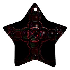Fractal Red Cross On Black Background Ornament (star) by Amaryn4rt