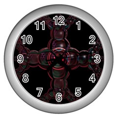 Fractal Red Cross On Black Background Wall Clocks (silver)  by Amaryn4rt