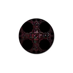 Fractal Red Cross On Black Background Golf Ball Marker by Amaryn4rt